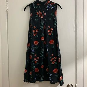 Kimchi Blue black floral collared dress Small